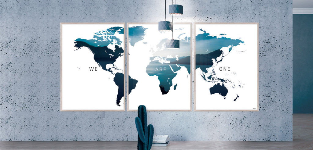 Plakat / Canvas: Verdenskort - We Are One (Indigo)