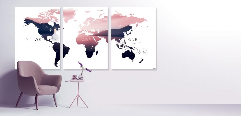 Plakat / canvas / akustik: We Are One - Verdenskort (MIDSOMMER)