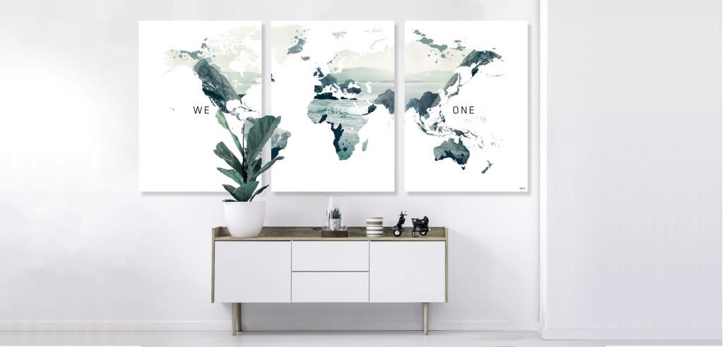 Plakat / Canvas: Verdenskort - We are one II (Vivid)