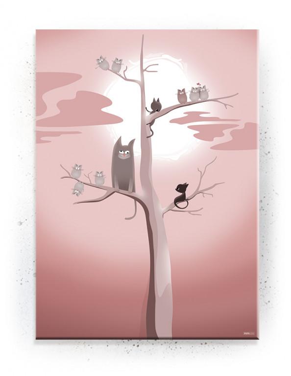 Plakat / Canvas / Akustik: Katte træ (Fantasifulde Væsner)