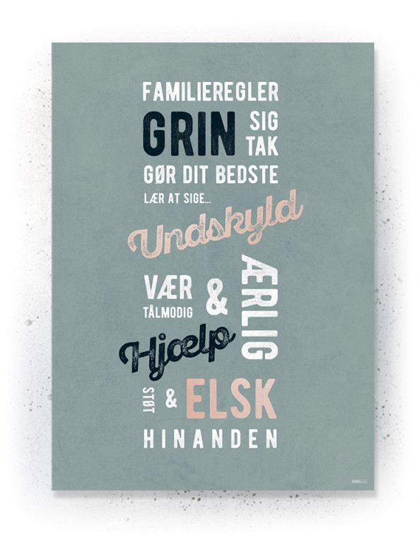 Plakat / canvas / akustik: Familieregler (Earth)