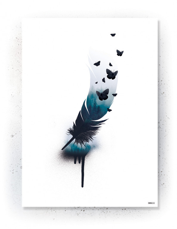 Plakat / Canvas / Akustik: Forest in feather (Indigo)