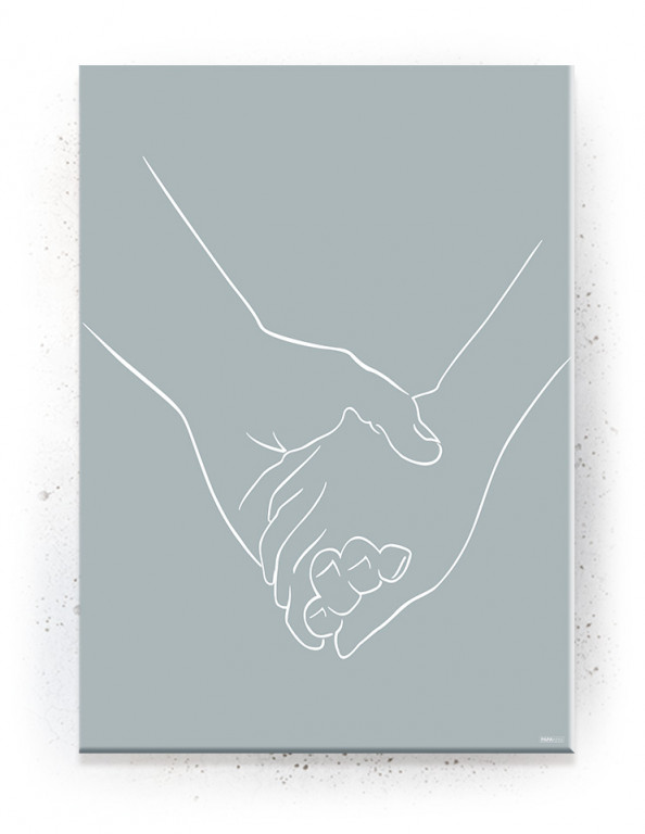 Poster, Canvas, Acoustics: Holding Hands - Blå / Lineart (Withered)