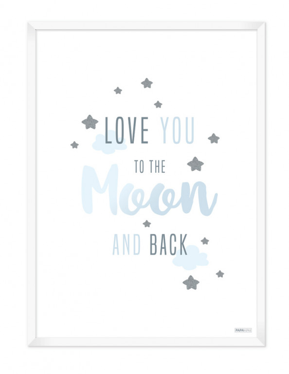 Plakat: Love you to the moon and back (Drengeværelset)