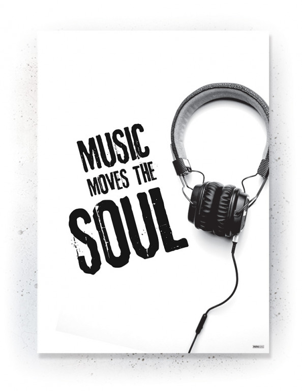 Plakat / Canvas / Akustik: Music moves the soul (Black)