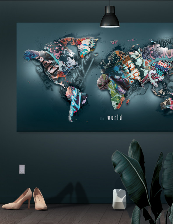 Verdenskort plakat/canvas: The world II (Statements)