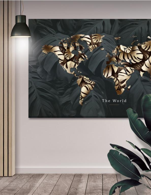 Plakat / Canvas / Akustik: The World 3 / Green / Panorama (Earth)