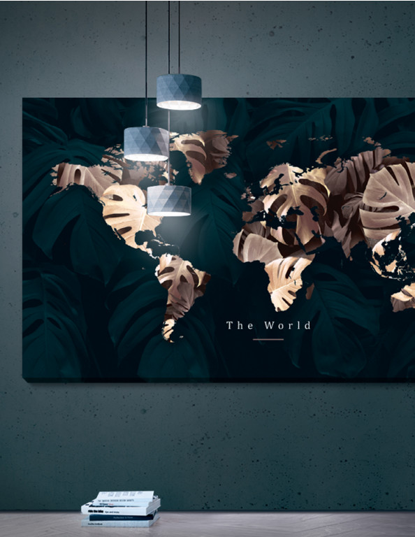Plakat / Canvas / Akustik: The World - Gold/Green (Earth / Panorama)