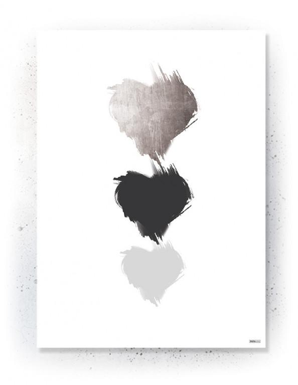 Plakat / canvas / akustik: Tre hjerter (Faded)