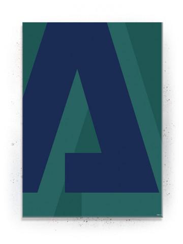 "Bogstavet ""A"" i blå (Typografi) - plakat eller Lærredsprint"