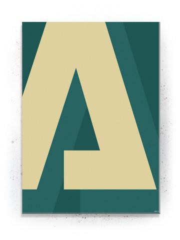 "Bogstavet ""A"" i Gul (Typografi) - plakat eller Lærredsprint"