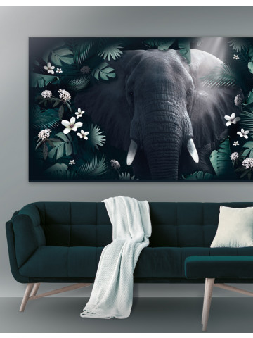 Plakat / Canvas / Akustik: Elephant in Jungle (Animals / Panorama)