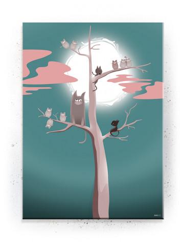 Plakat / Canvas / Akustik: Katte træ (turkis) (Fantasifulde Væsner)