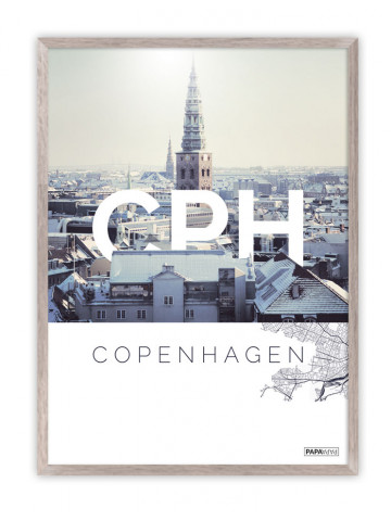 Plakat: CPH - Copenhagen (København by) Hvid tekst!