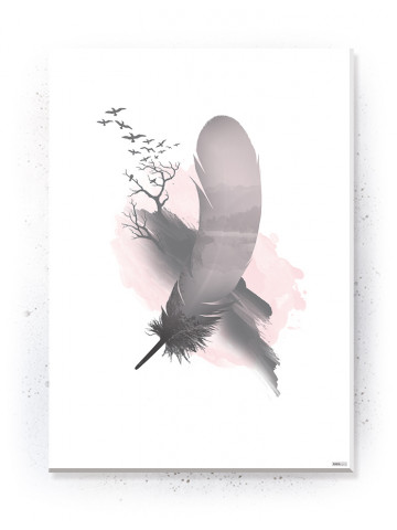Plakat / Canvas / Akustik: Feather and Birds (Flush Pink)