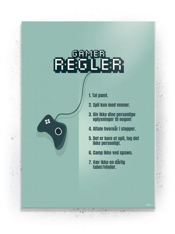 Plakat / Canvas / Akustik: Gamer Regler / Grøn (Gamer plakat)