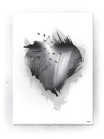 Plakat / Canvas / Akustik: Heart (Black)