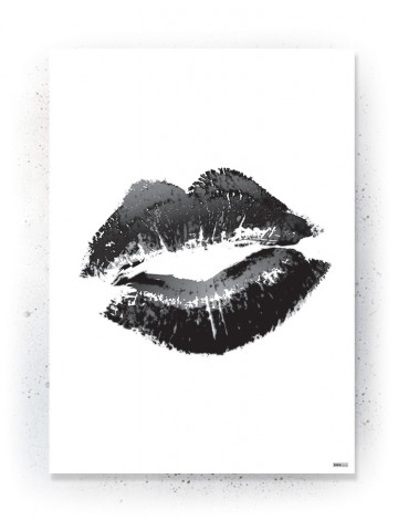 Plakat / Canvas / Akustik: Kiss lips (Black)
