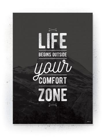 Plakat / Canvas / Akustik: Life begins outside your comfort zone (Black)