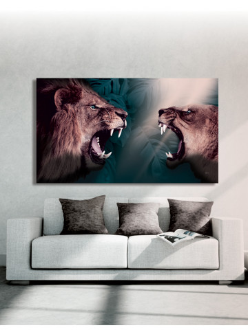 Plakat / Canvas / Akustik: Lions / Løve (r) (Animals / Panorama)