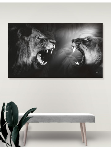 Plakat / Canvas / Akustik: Lions / Løve (r) Monochrome (Animals / Panorama)