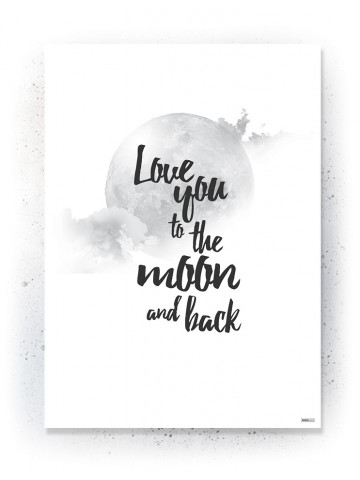 Plakat / Canvas / Akustik: Love you to the moon and back (Black)