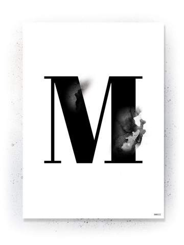 Plakat / Canvas / Akustik: Bogstavet M (Black)