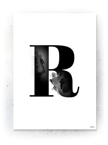 Plakat / Canvas / Akustik: Bogstav R (Black)