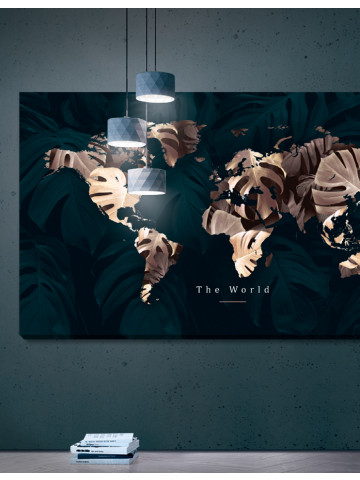 Verdenskort plakat/canvas: The world / Green - panorama (Earth)