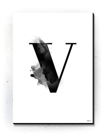 Plakat / Canvas / Akustik: Bogstav V (Black)