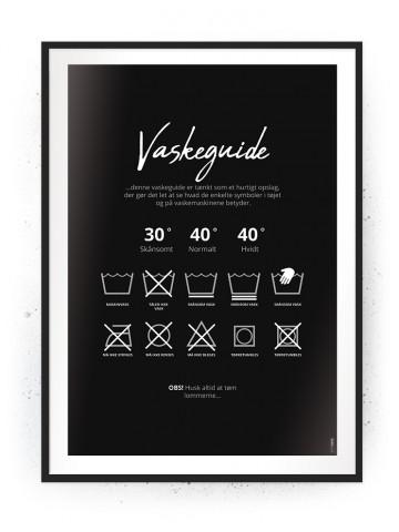 Plakat / Canvas / Akustik: Vaskeguide Sort/Hvid (Vaskerum)