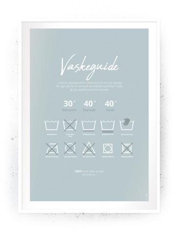 Plakat / Canvas / Akustik: Vaskeguide Blå (Vaskerum)