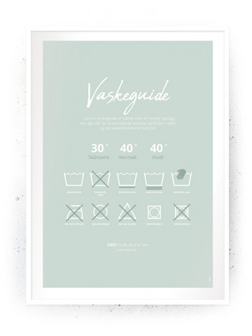 Plakat / Canvas / Akustik: Vaskeguide Grøn (Vaskerum)