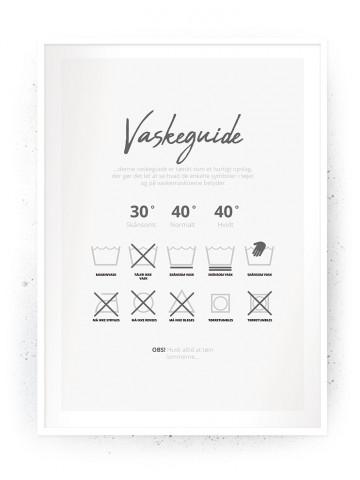 Plakat / Canvas / Akustik: Vaskeguide Grå (Vaskerum)