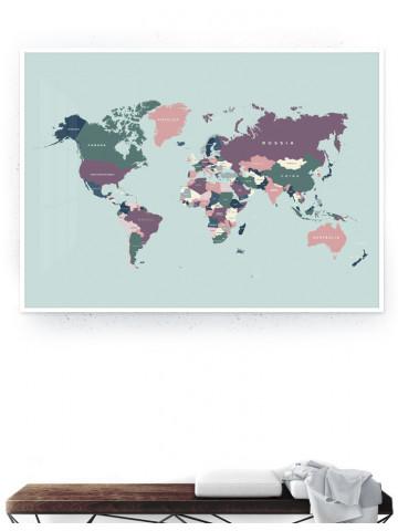Verdenskort med lande (Pastel I) Storformat / Plakat & Canvas