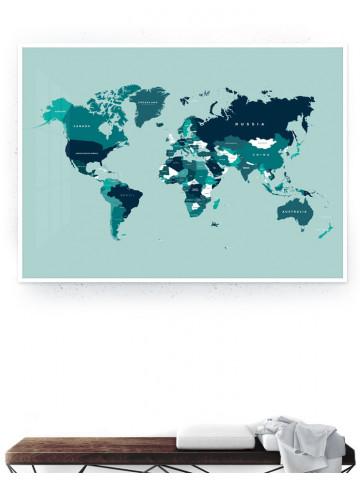 Verdenskort med lande (Petroleum I) Storformat / Plakat & Canvas