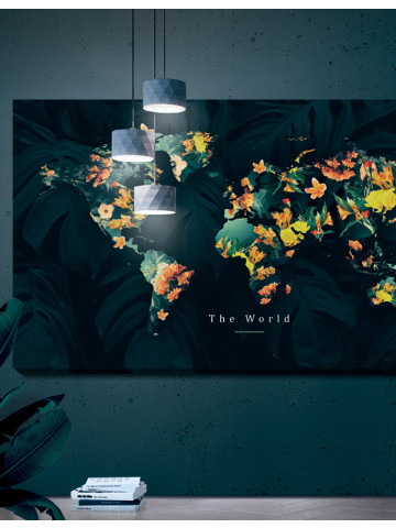 Verdenskort plakat/canvas: The world - panorama (Yellow spring)
