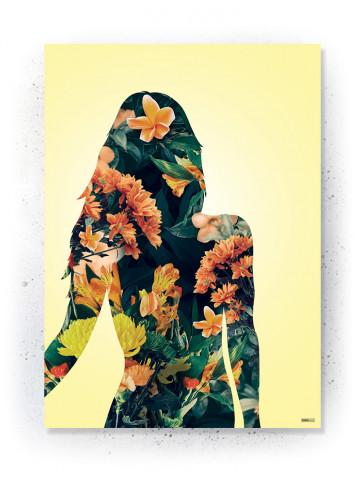 Plakat / Canvas / Akustik: Kvinde silhuet (Yellow spring)