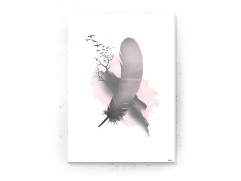 Plakat / Canvas / Akustik: Feather and Birds (Flush Pink)