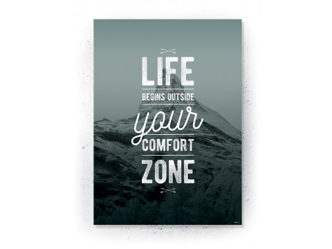 Plakat / Canvas / Akustik: Life begins outside your comfort zone (Thoughts)
