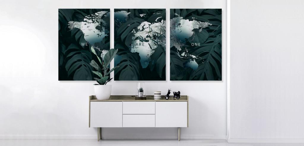 Plakat / Canvas / Akustik: Verdenskort - We Are One III (Earth)