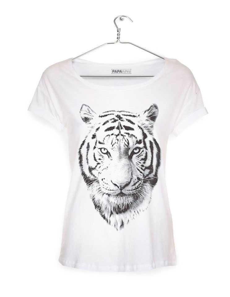 T Shirt with TIGER print (WHITE) T shirts Posters
