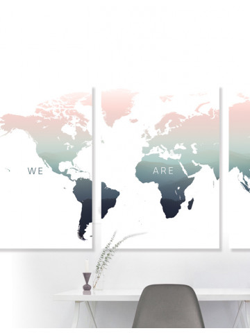 Poster / Canvas: Worldmap - We Are One (BRIGHT)