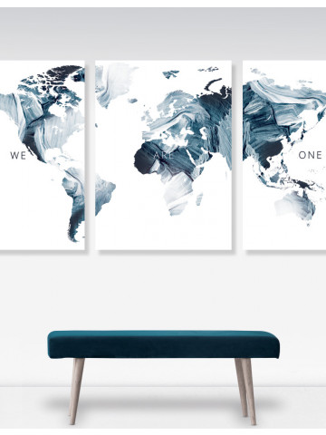 Plakat: Verden / World (We are one) i Black / Inverted