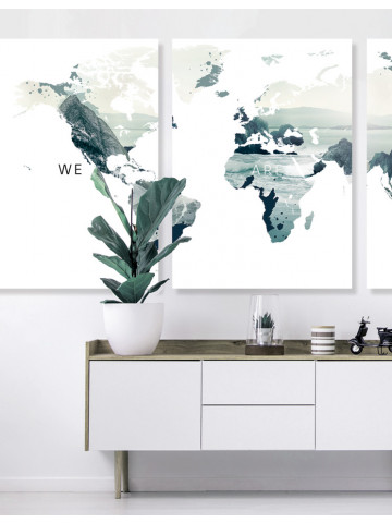 Poster / Canvas / Acoustics: World map - We Are One II (Vivid)