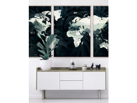 Poster / Canvas / Acoustics: World map - We Are One III (Vivid)