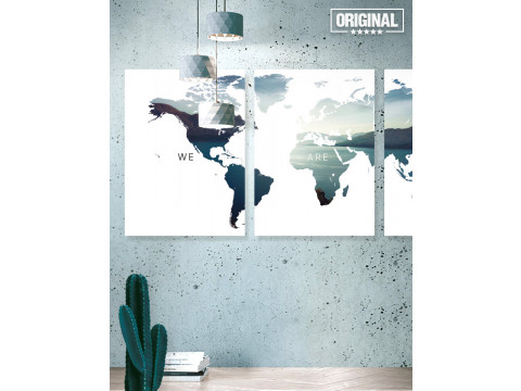 Poster / Canvas / Acoustics: Worldmap - We are one (Vivid)