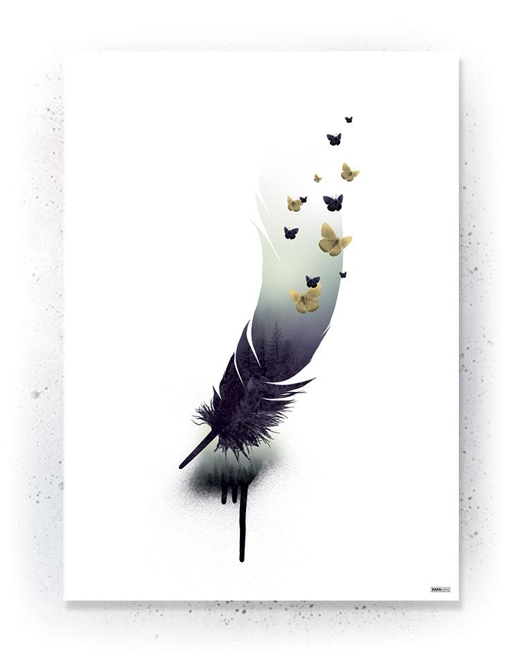 Plakat / canvas / akustik: Fjer / skov (Fall)