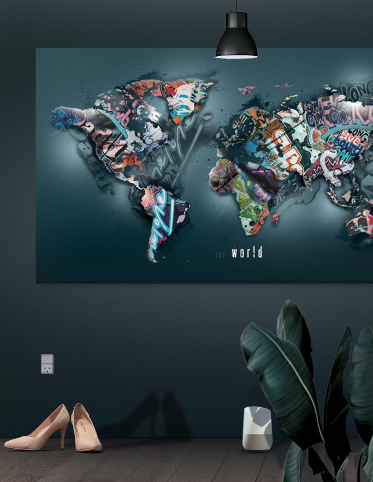 Graffiti verdenskort / The world II / Storformat (Statements) Plakater, lærredsbillede & akustik
