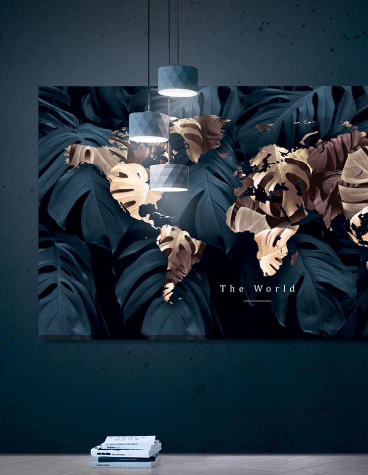 Verdenskort plakat/canvas: The world - panorama (Earth)